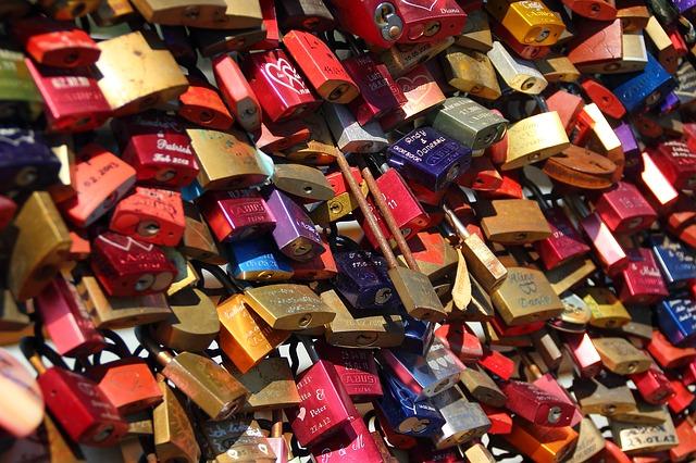 Mount Huang, China, love lock bridge location